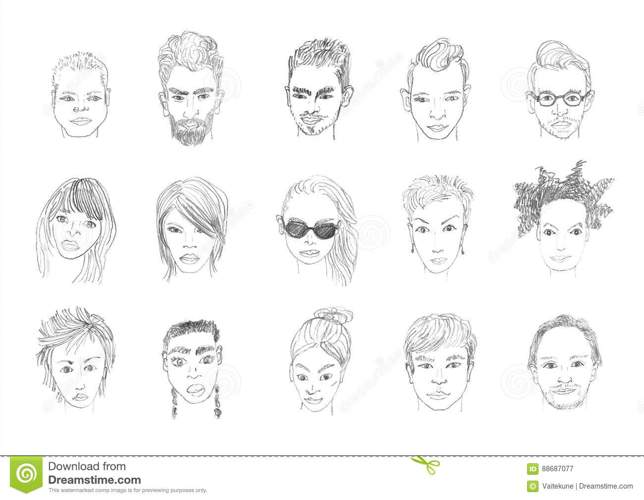 People faces pencil drawing