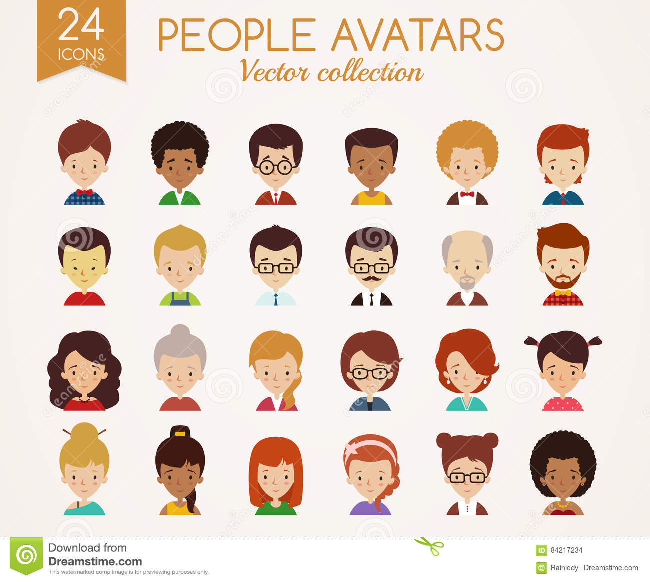 People Faces Set Of Vector Avatars Stock Vector