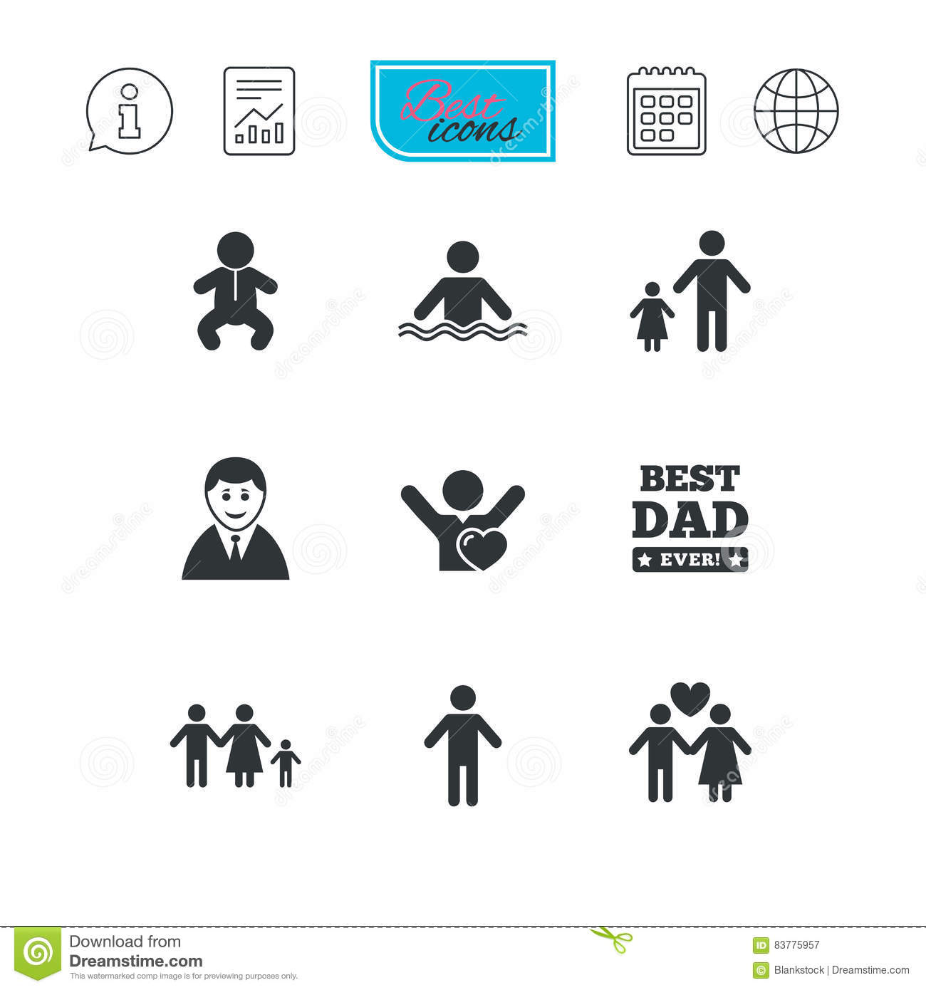 People, Family Icons. Swimming Pool Sign. Stock Vector ...