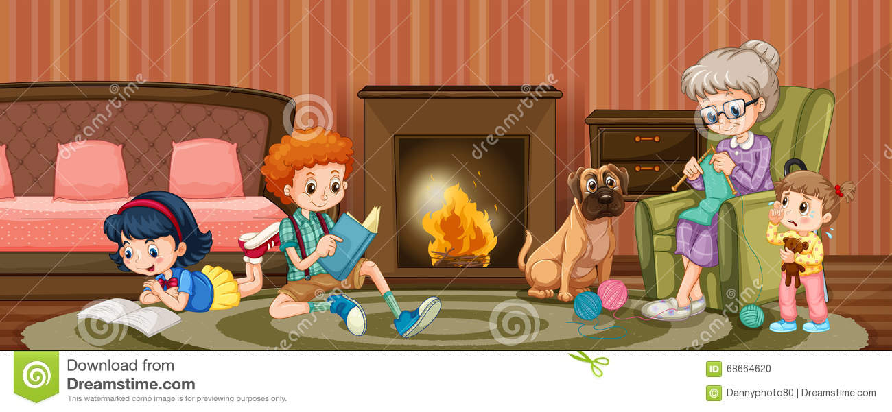 people in family in the living room stock vector