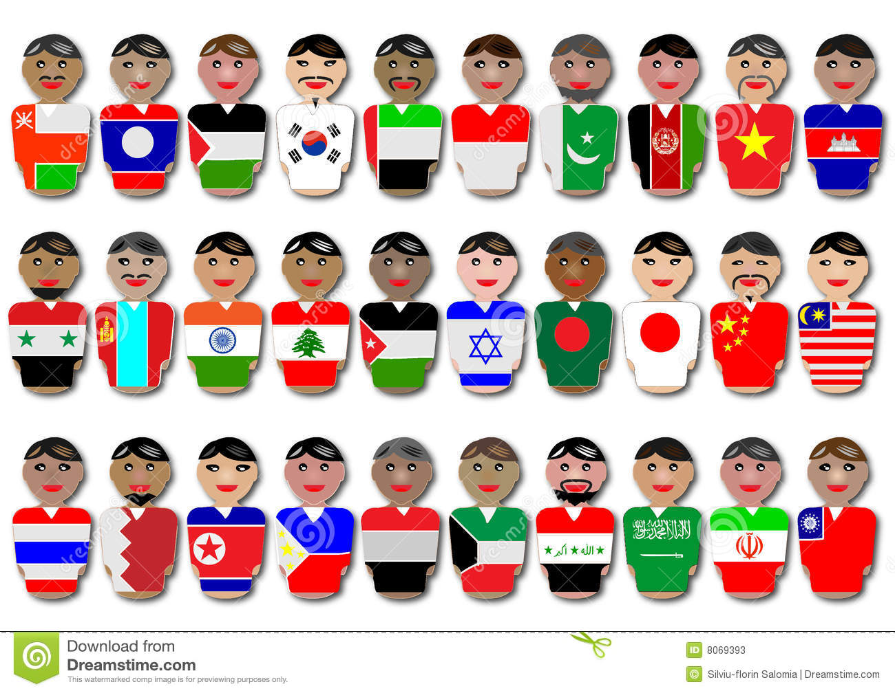 People And Flags From Asia Stock Vector Illustration Of