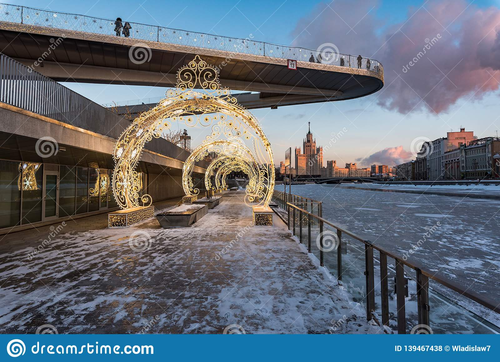 People on a floating bridge