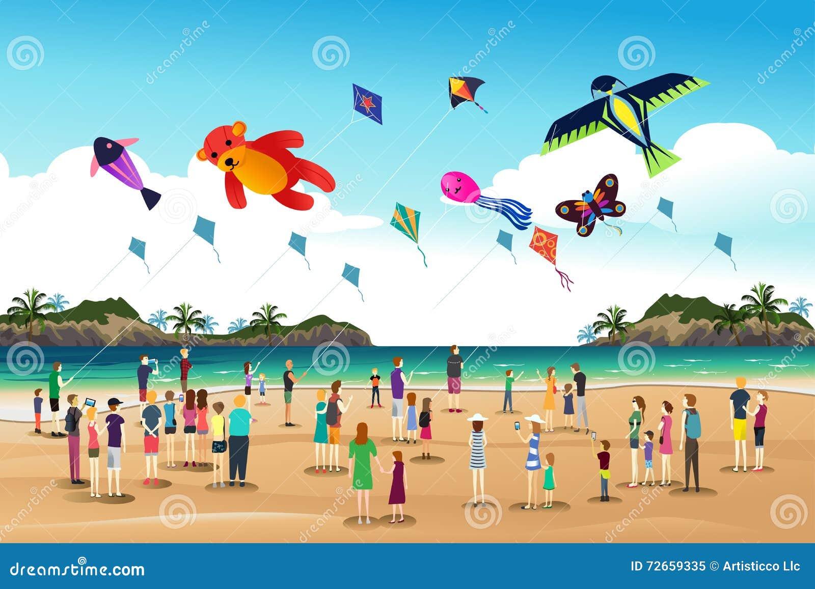 People Flying Kites At The Kite Festival Stock Vector Illustration