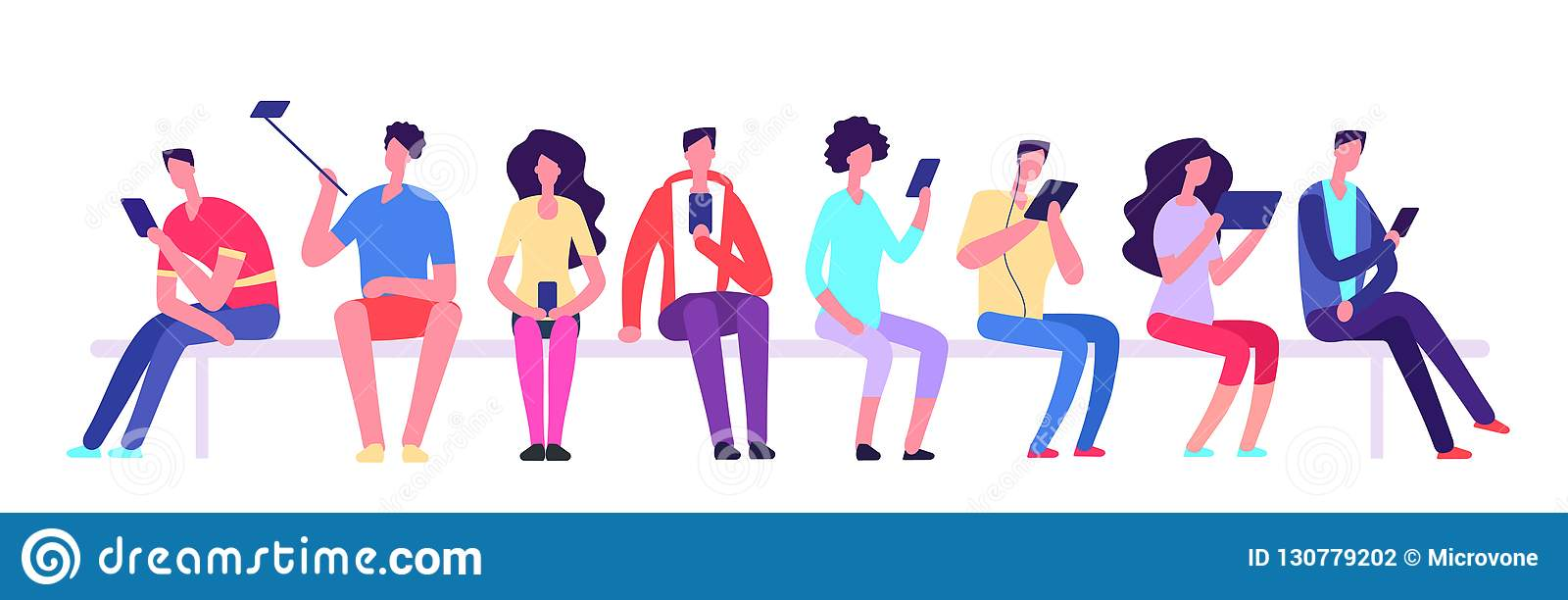 People with gadgets sitting on bench. Men and women with cell phone meeting outdoor. Cartoon student vector characters