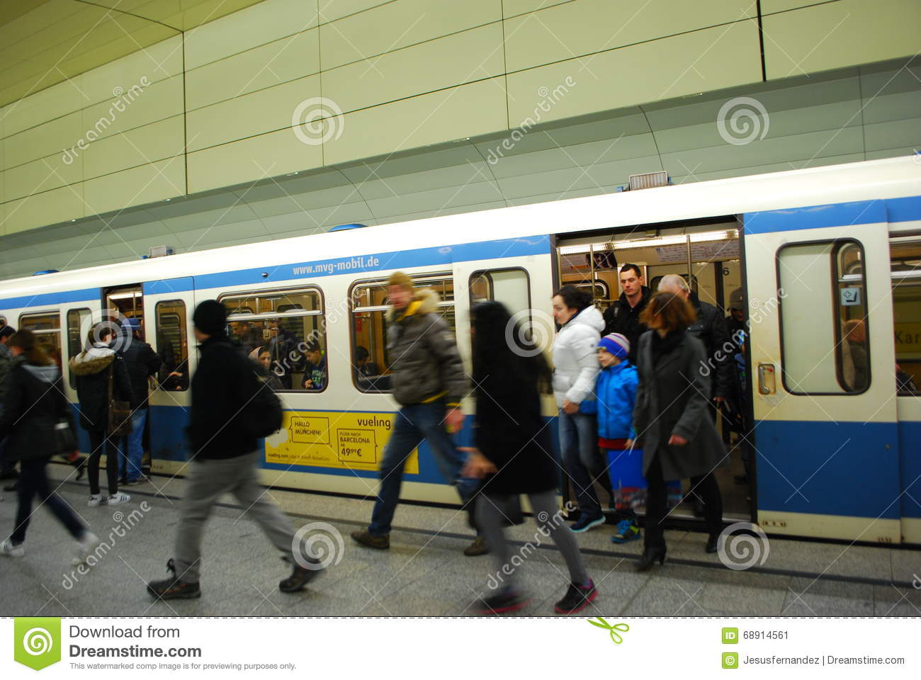 People Getting Off Subway Train In Munich,Germany ...