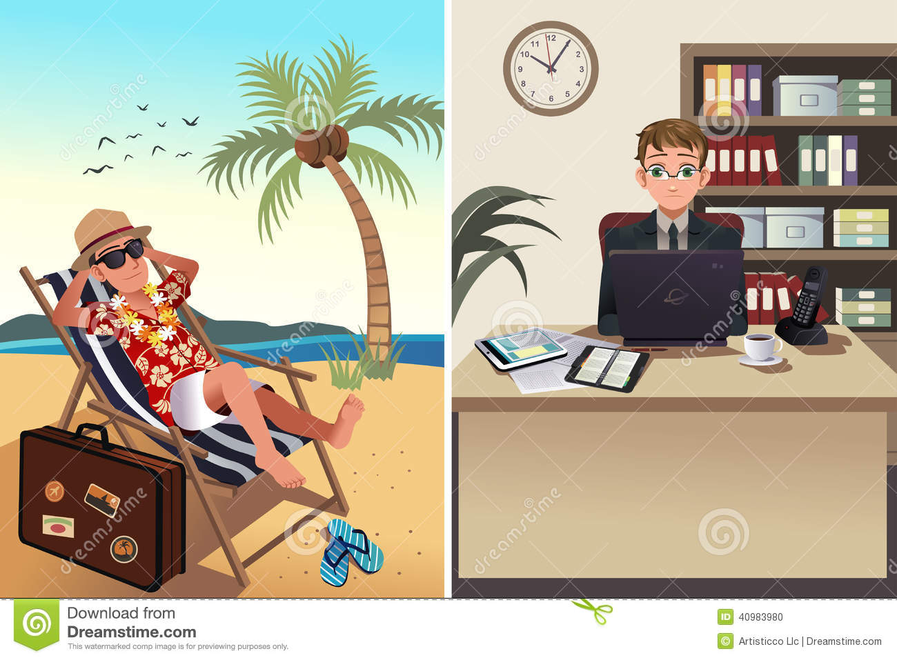 People going to work vacation concept vector illustration one person
