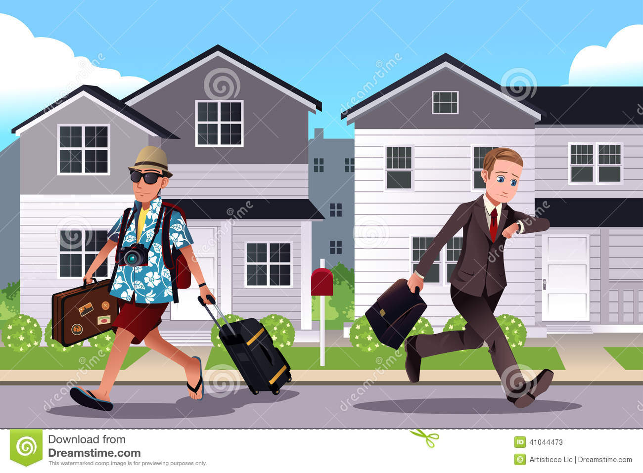 People Going To Work And Vacation Concept Stock Vector
