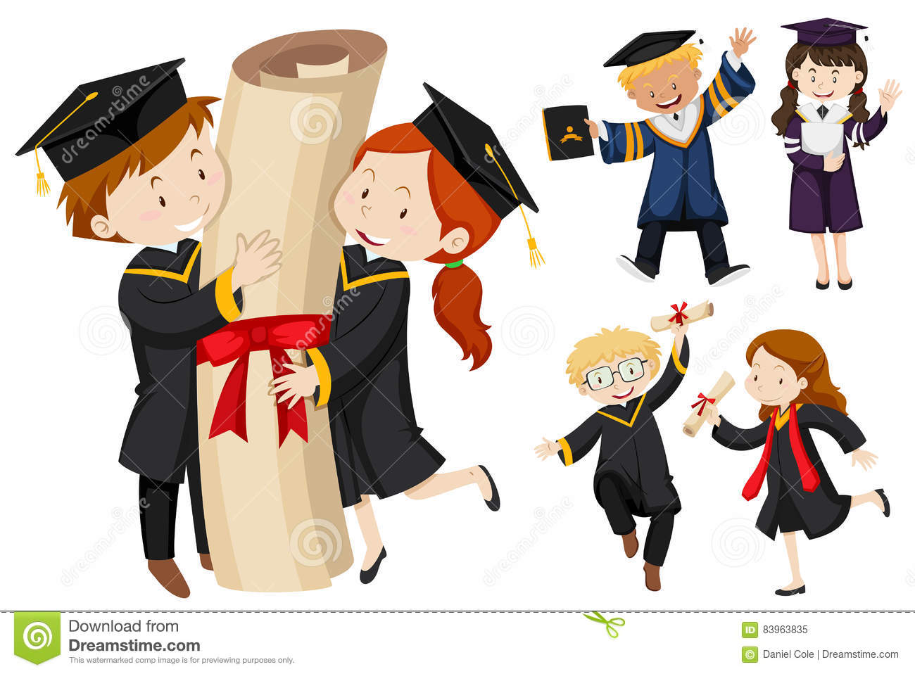 People in graduation gown stock vector. Illustration of white - 83963835