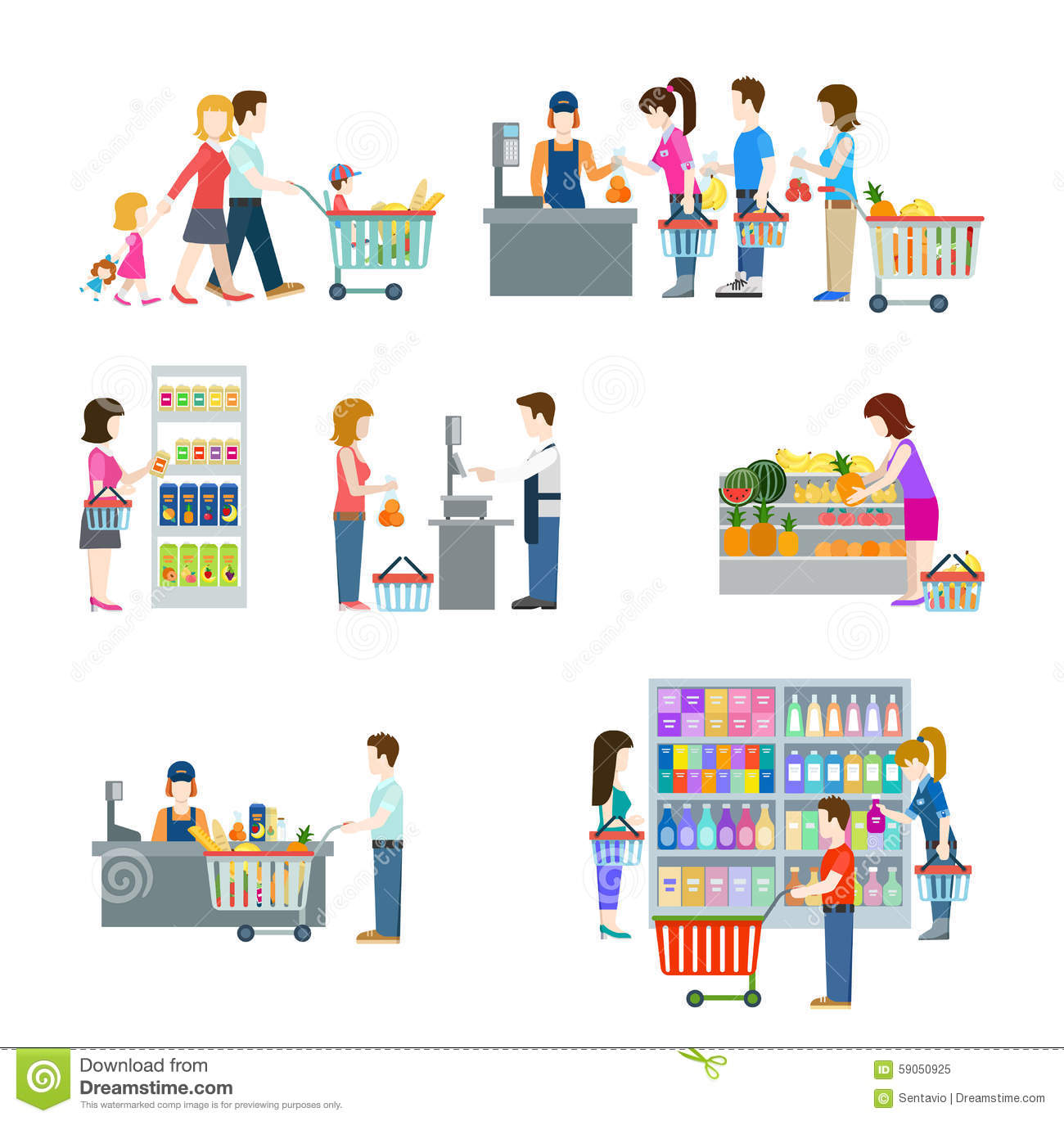 People In Grocery Shop Flat Icon Set Stock Vector Image