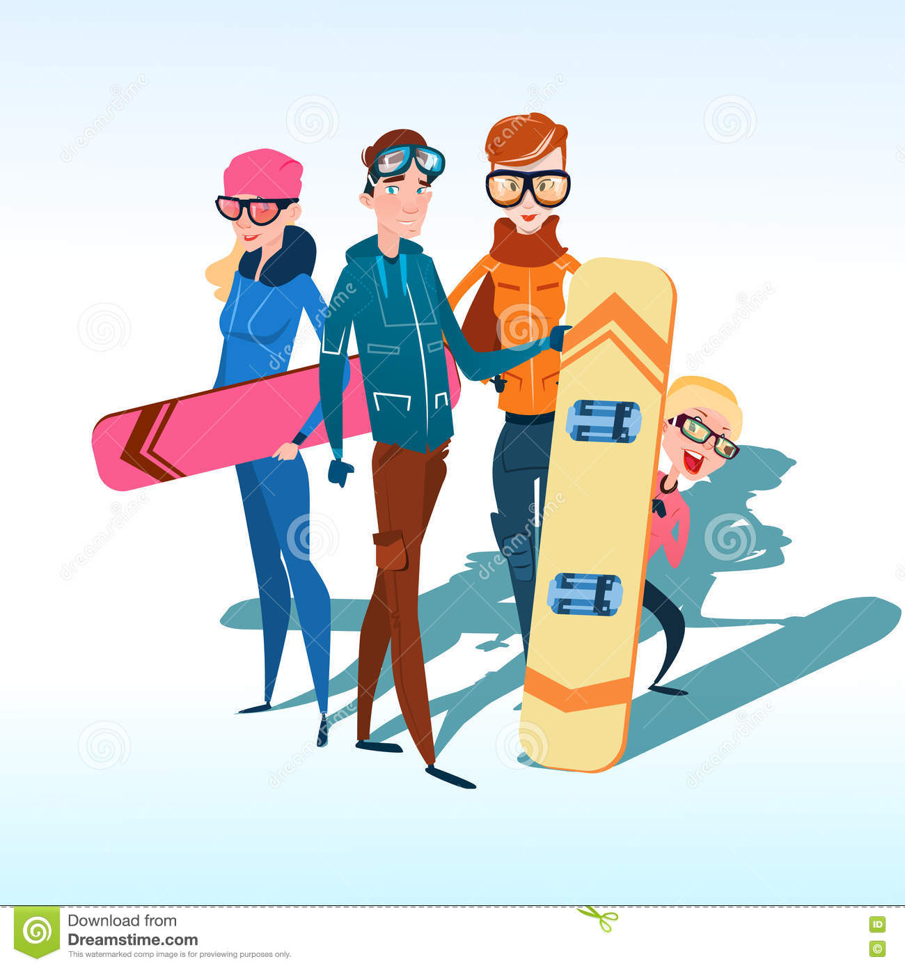 People on snowboard design compositions cartoon vector for Winter design group