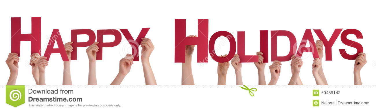 People Hands Holding Red Straight Word Happy Holidays
