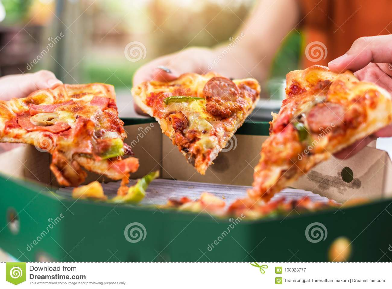 Download People Hands Taking Slices Of Pizza Margherita Margarita Stock Image