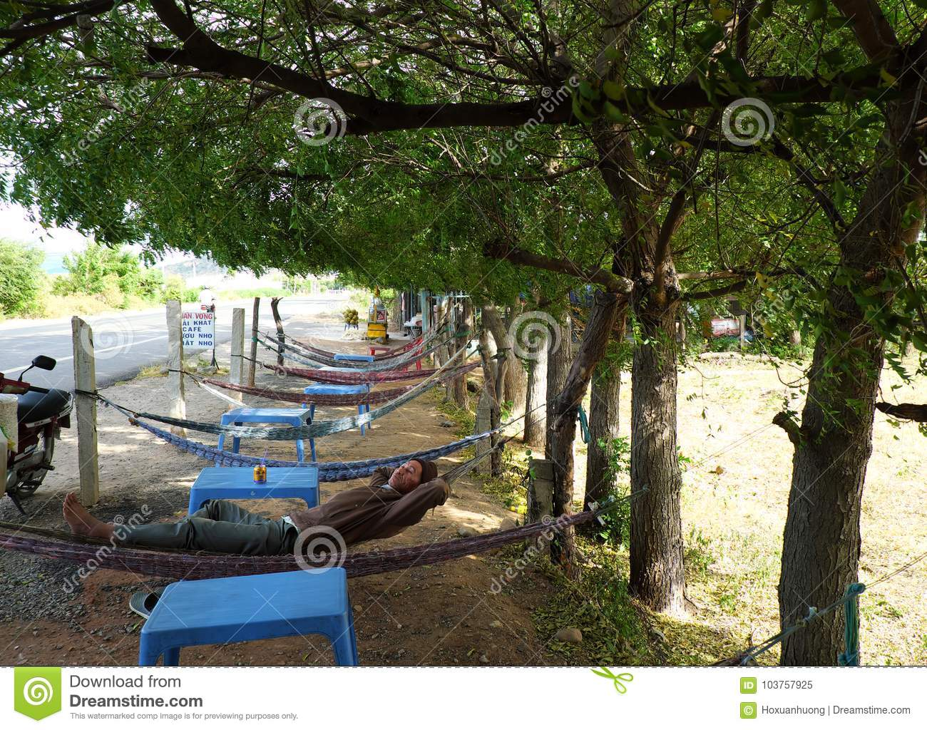 People Have A Rest Under Tree Shadow Editorial Image