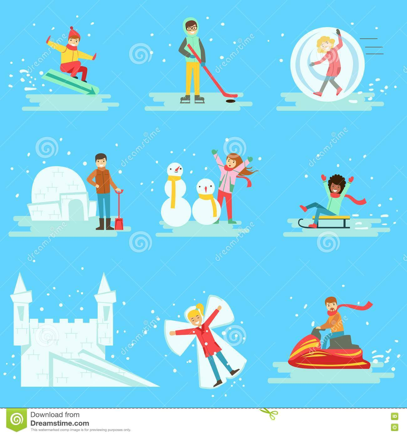 People Having Fun In Snow In Winter Collection Of Illustrations