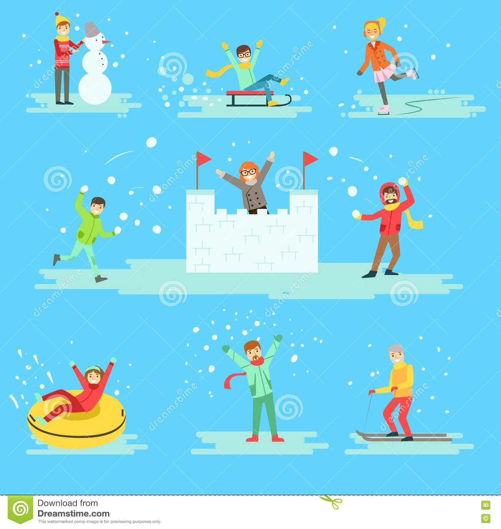 Winter Clothing Woman And Man Set. Vector Vector ...