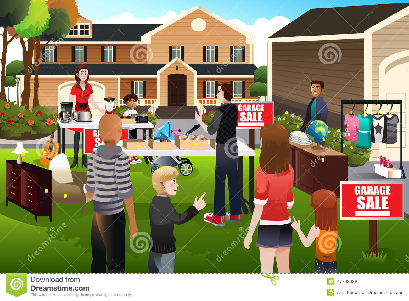 People having a garage sale stock vector image 47702329 for Garage a persan