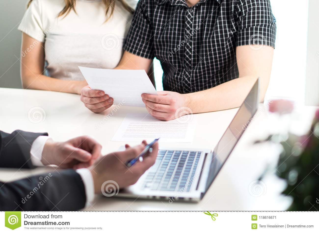 People having meeting about mortgage, bank loan, buying house.