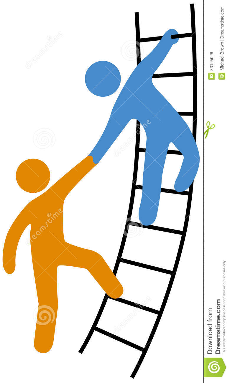 People Helping Join Up Ladder Stock Vector Image 33195029