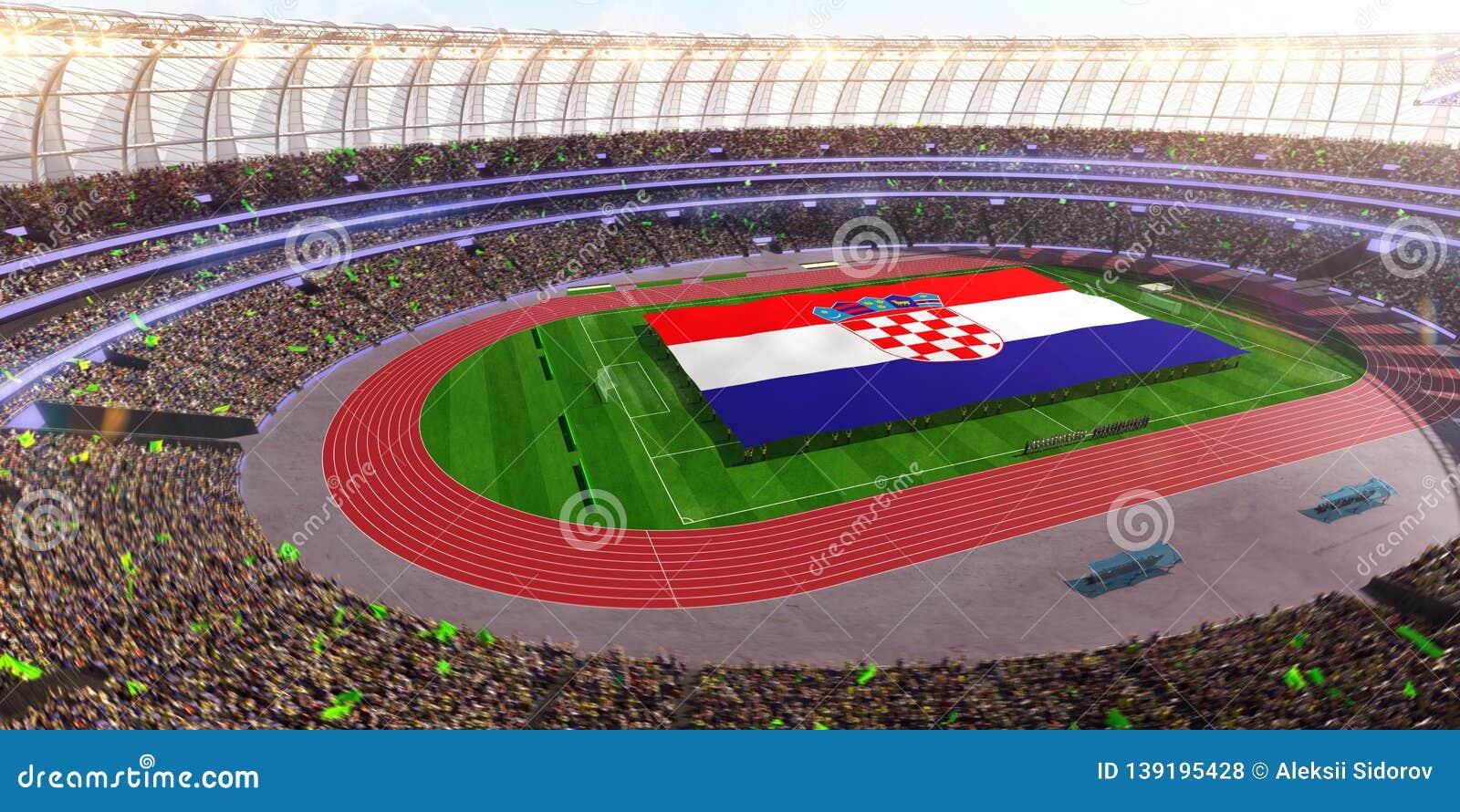 People hold Croatia flag in stadium arena. field 3d photorealistic render