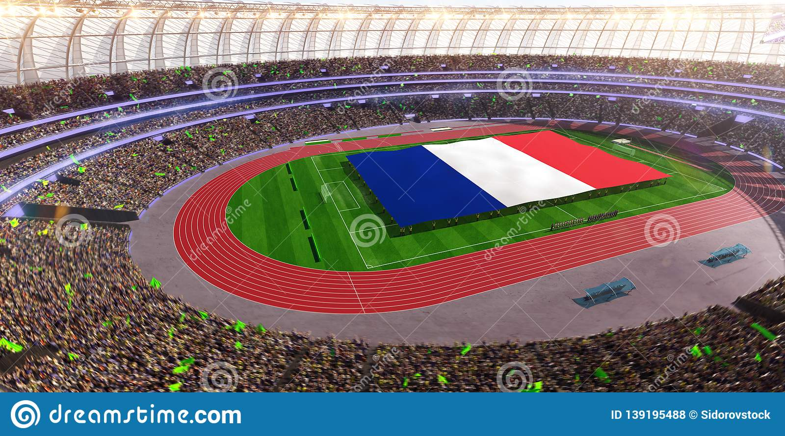 People hold France flag in stadium arena. field 3d photorealistic render