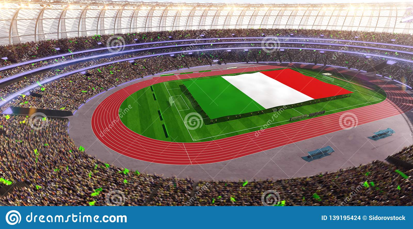 People hold Italy flag in stadium arena. field 3d photorealistic render