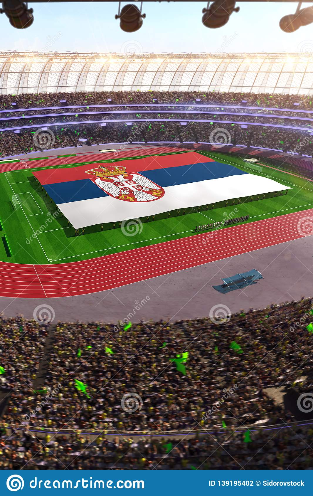 People hold Serbia flag in stadium arena. field 3d photorealistic render