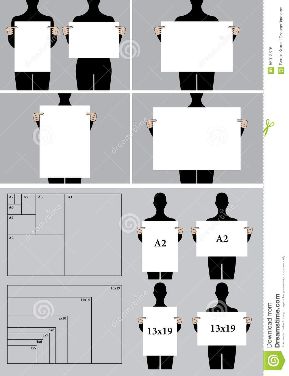 People Holding Blank Poster Templates, Vector Set Stock ...