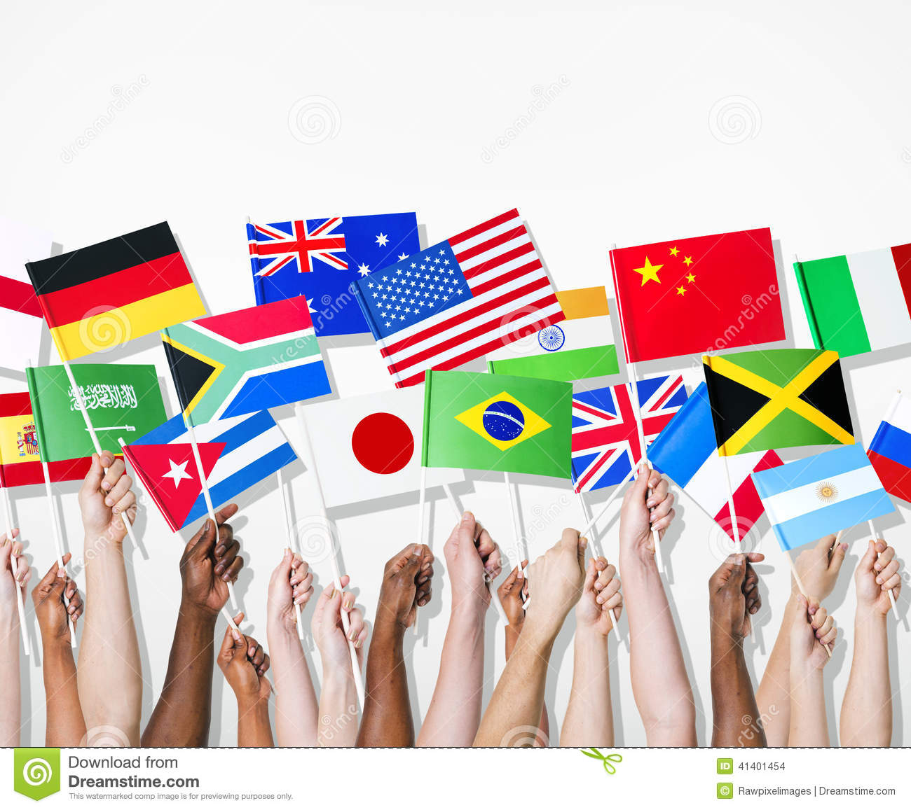 People Holding Flags Of Their Country Stock Photo Image