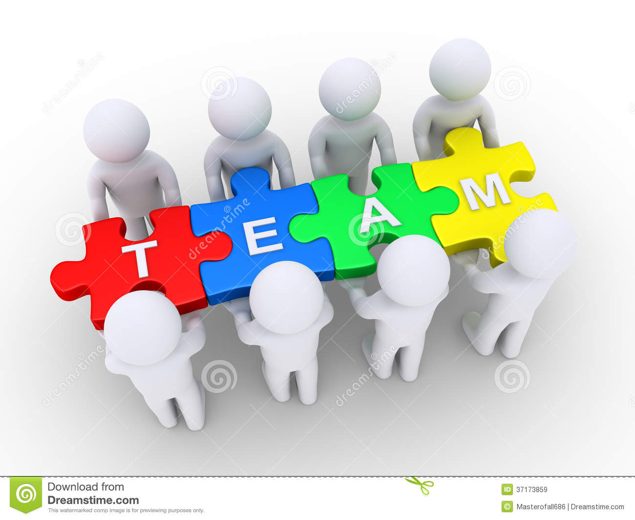 People Holding A Team Puzzle Stock Illustration