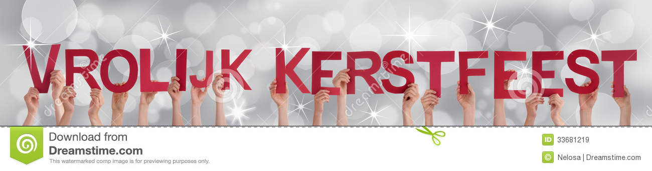 Vrolijk kerstfeest which means merry christmas on a silver background