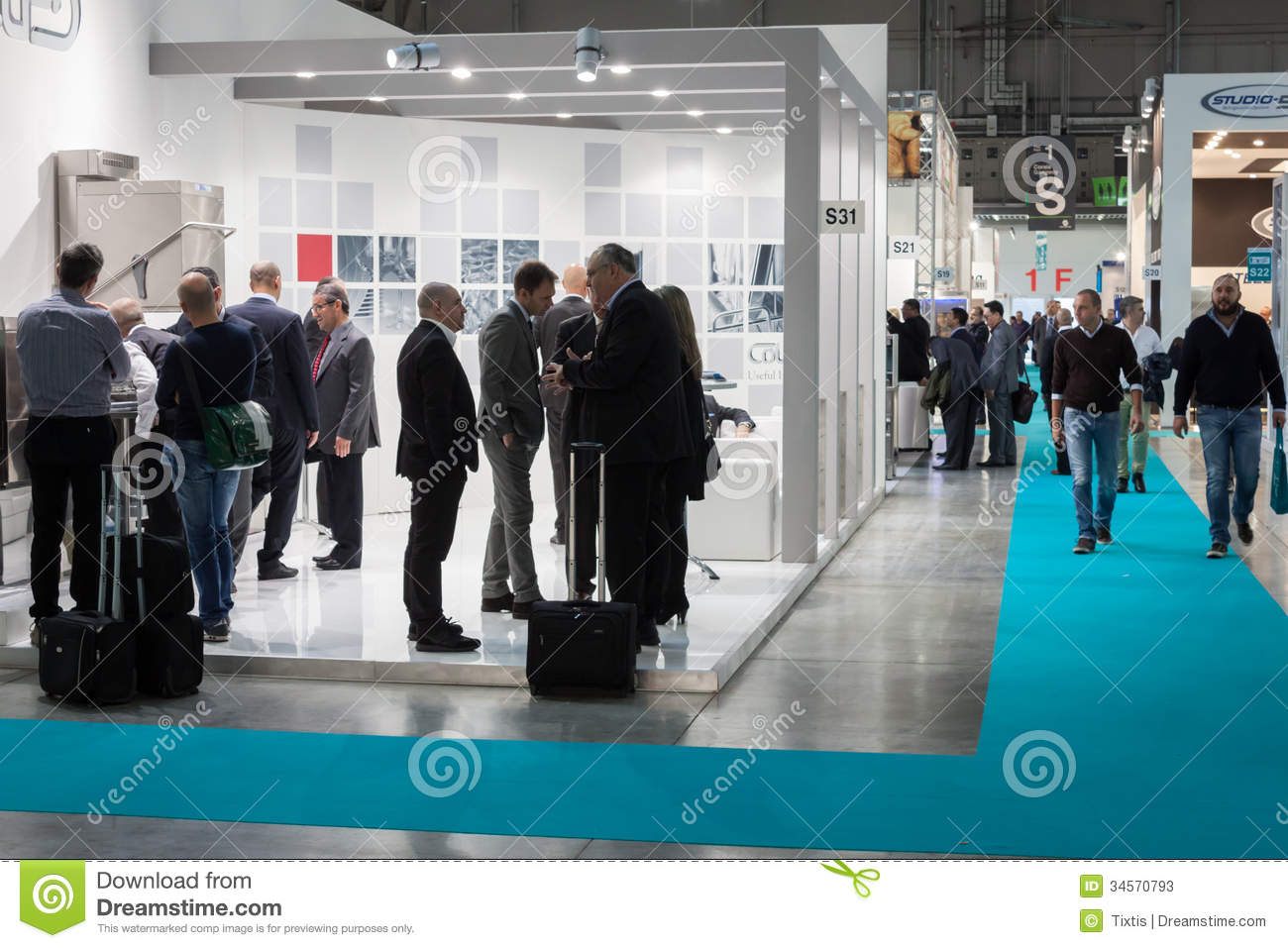 Exhibition Stall Price : People at host in milan italy editorial stock photo
