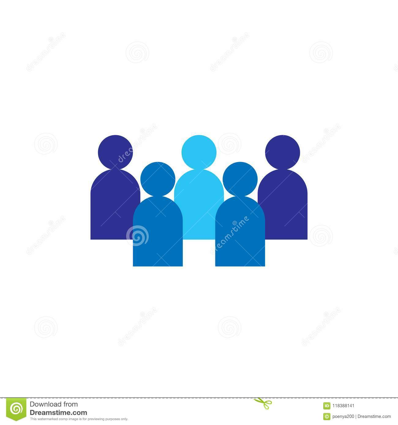 People Icon. Business corporate team working together. Social network group logo symbol. Crowd sign. Leadership or community conce