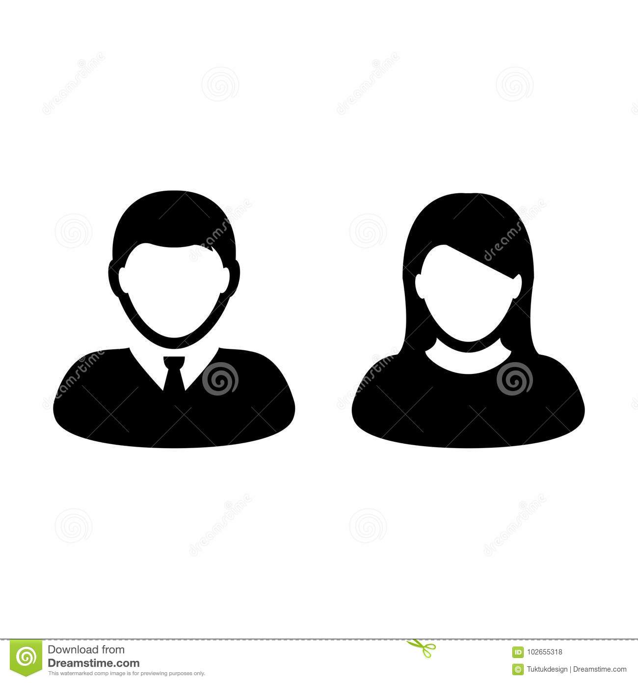 People Icon Vector Male and Female Person Profile Avatar