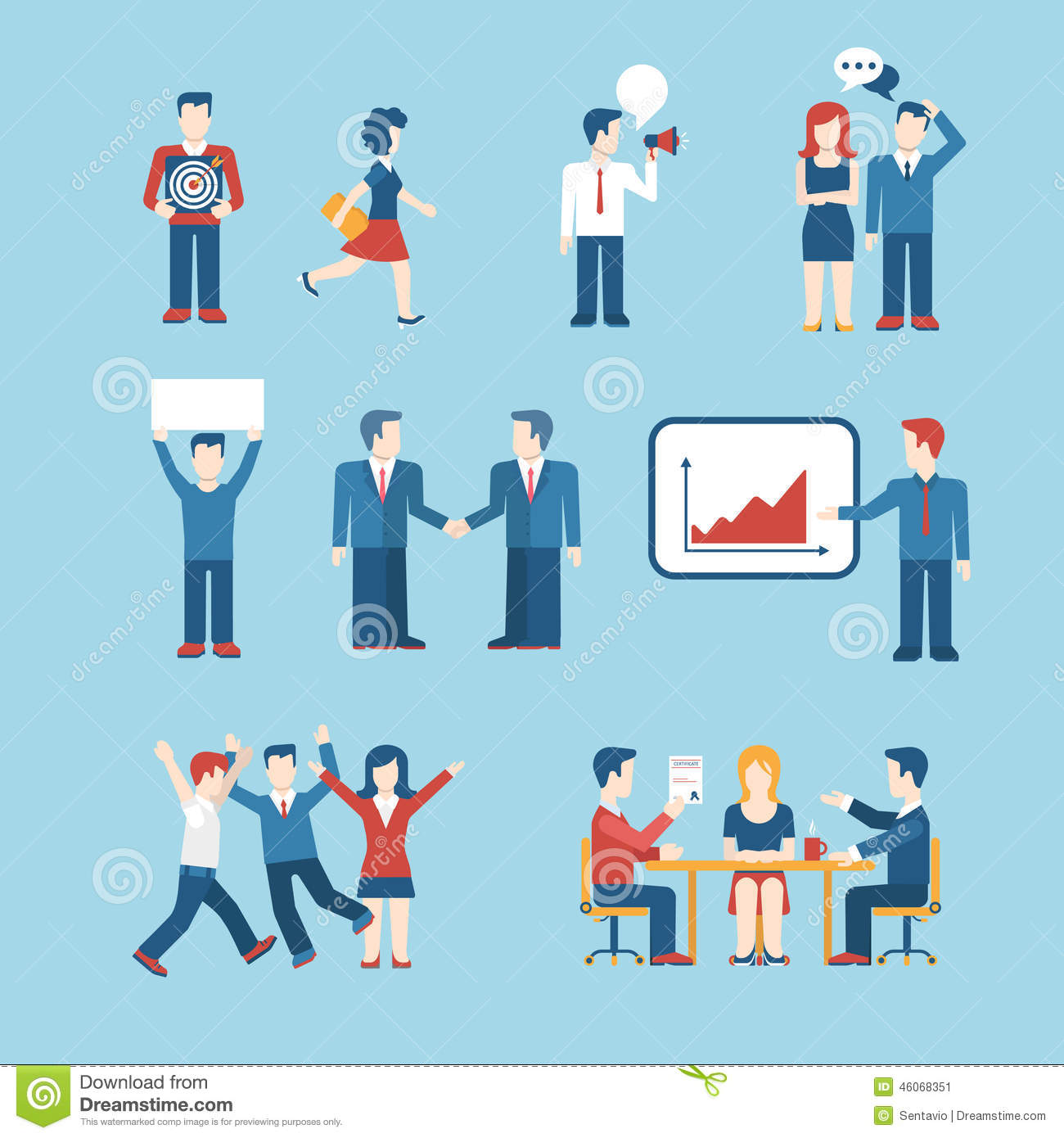 People Icons Business Man Situation Web Template Icon Set