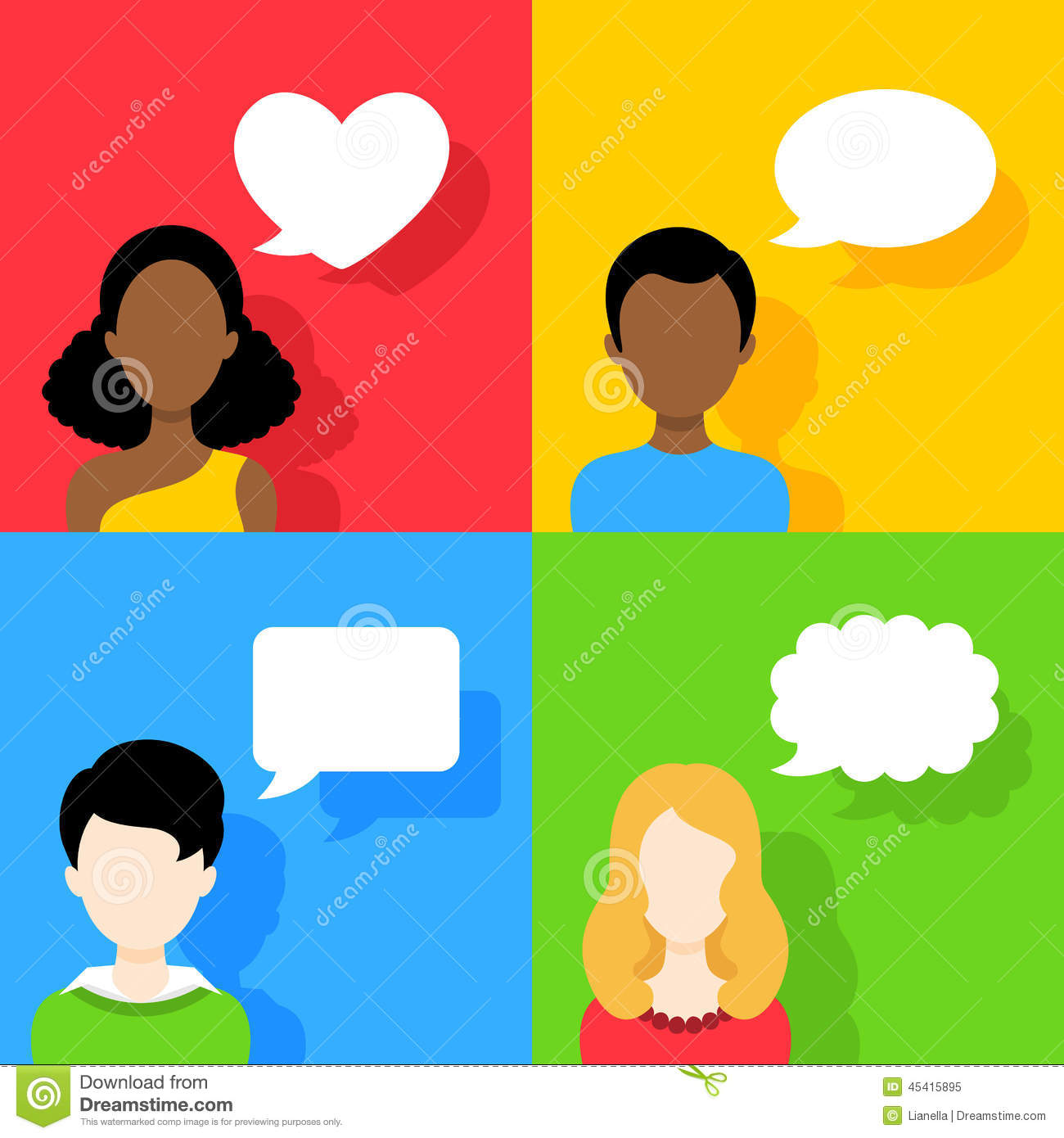 People Icons With Dialog Speech Bubbles Set Stock Vector