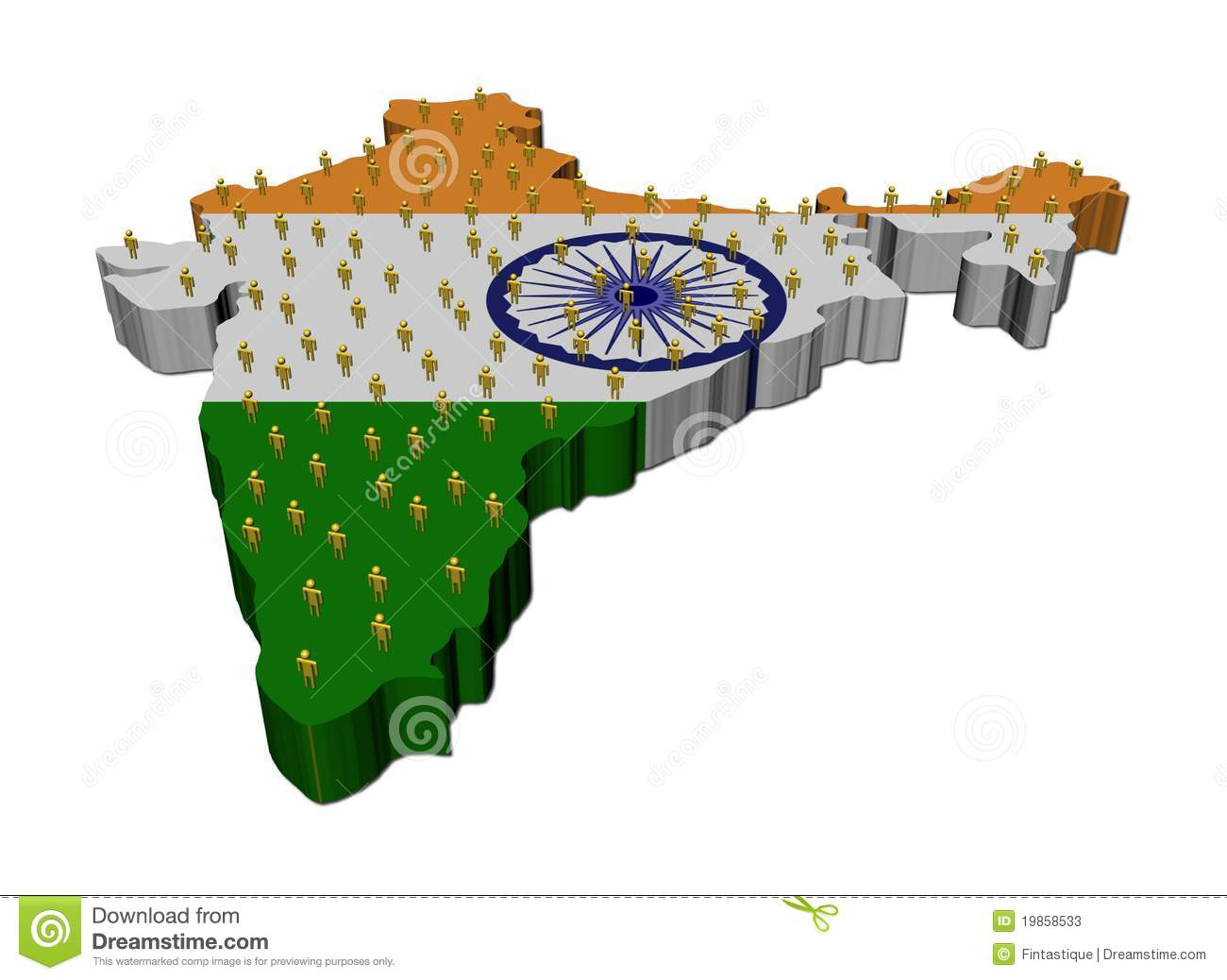 India Flag Map: People On India Map Flag Stock Photos