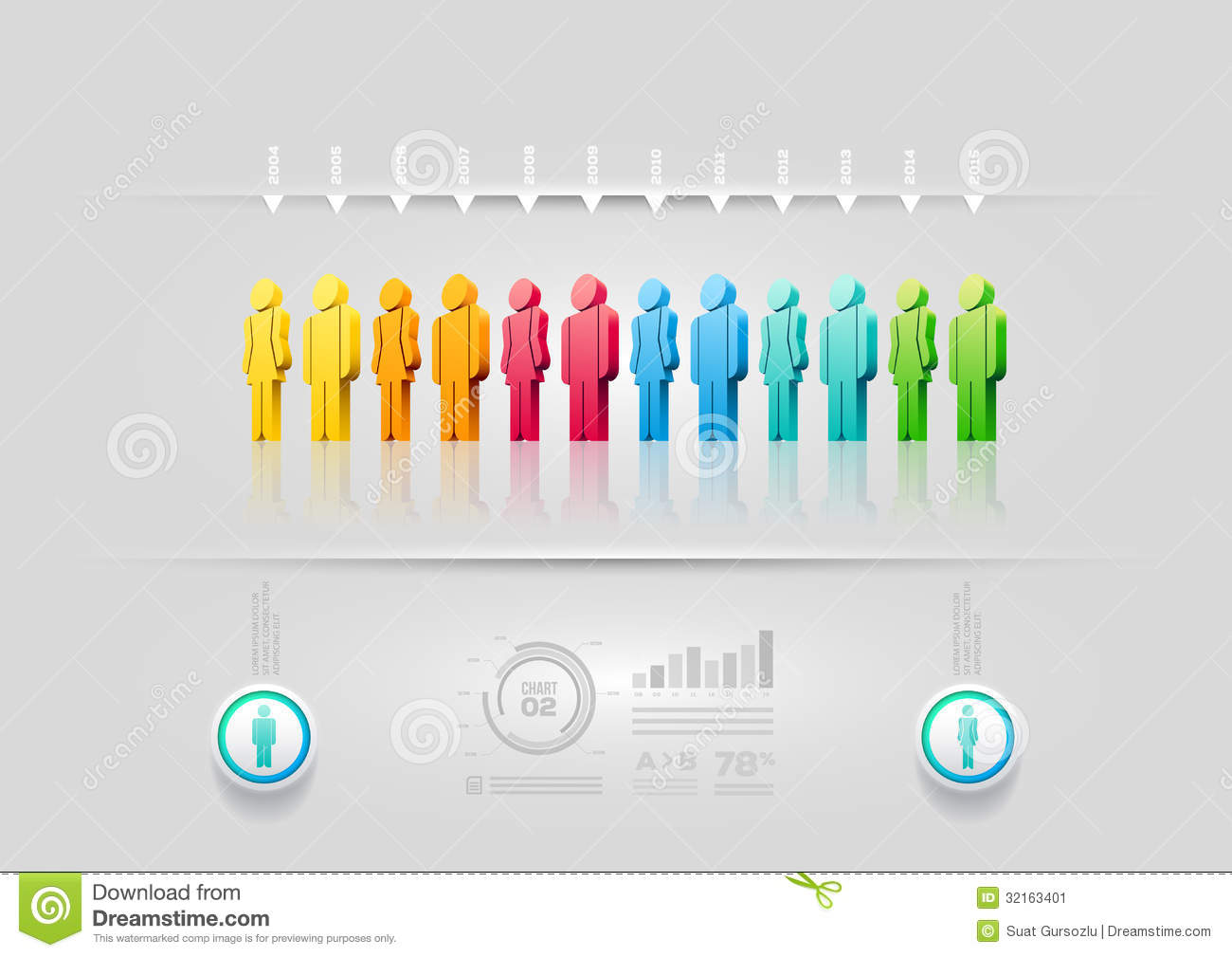 people infographic design template stock vector