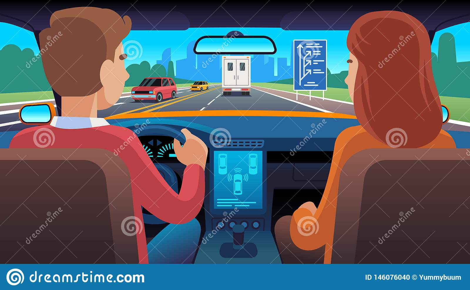 People inside car interior. Travel driver navigation seat dating family passengers taxi safety speed road, flat vector