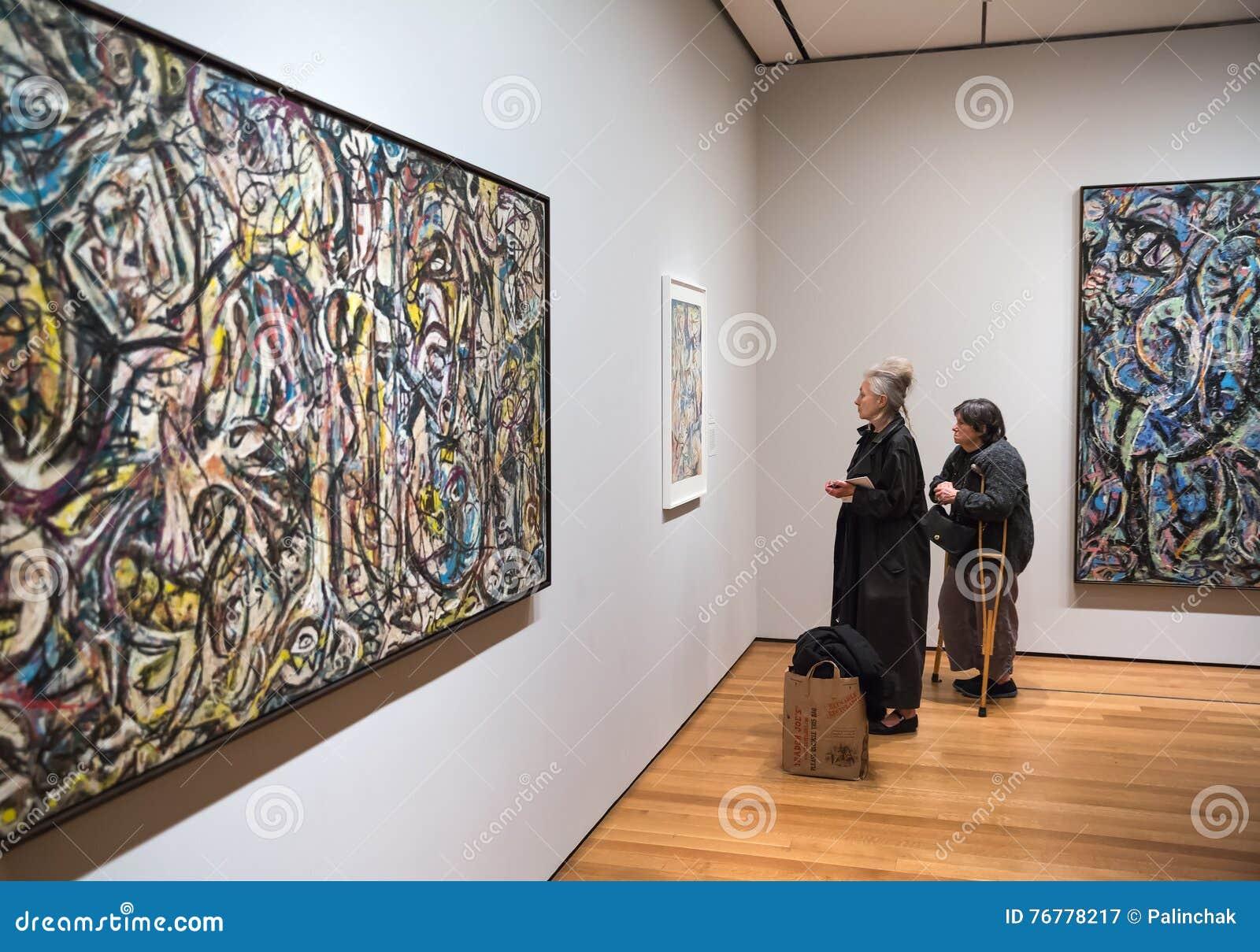 People Inside Museum Of Modern Art In Nyc Editorial