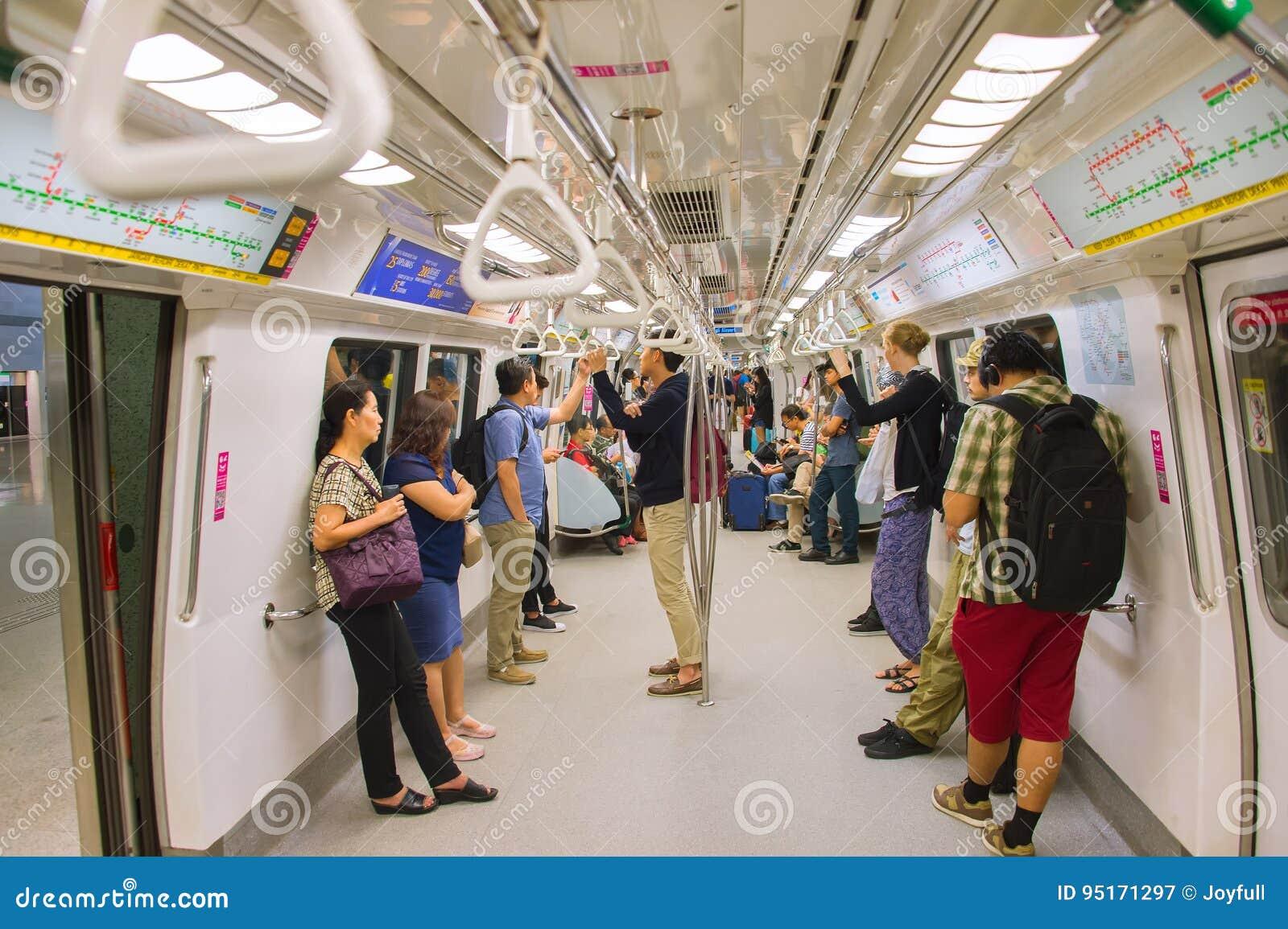 People Inside Subway Train. Singapore Editorial ...