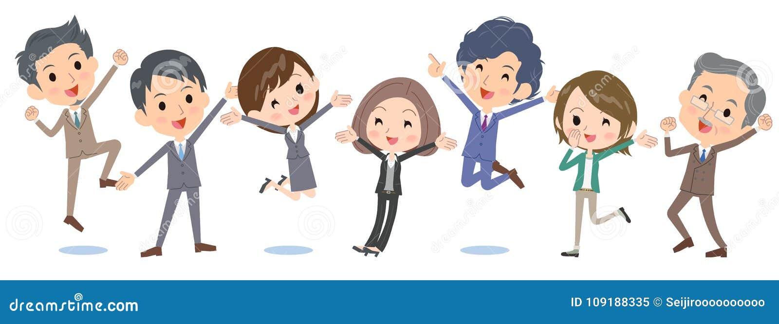 People_jump do negócio feliz de lado a lado