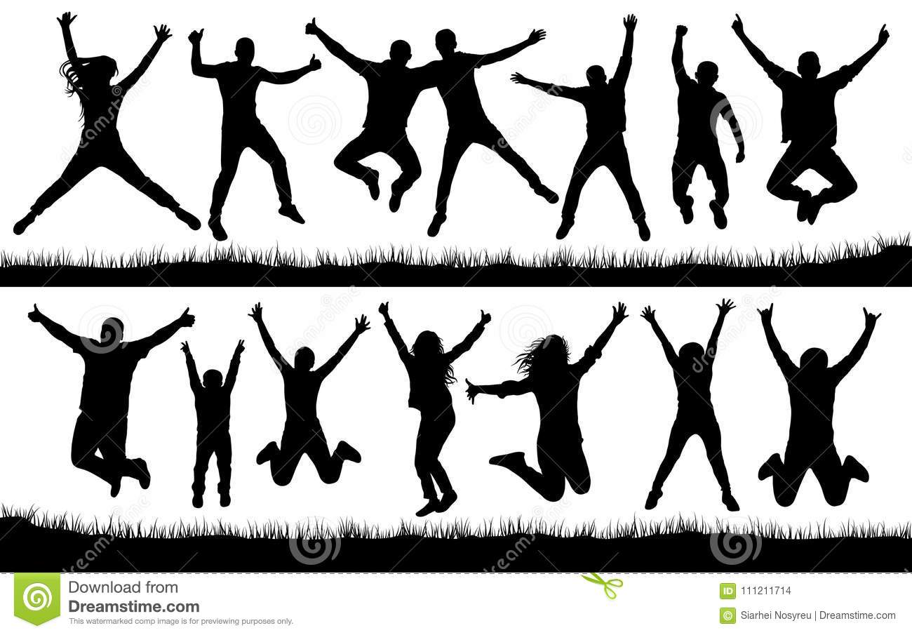 People jumping, friends man and woman set. Cheerful girl and guy silhouette collection vector. Fun Icon.
