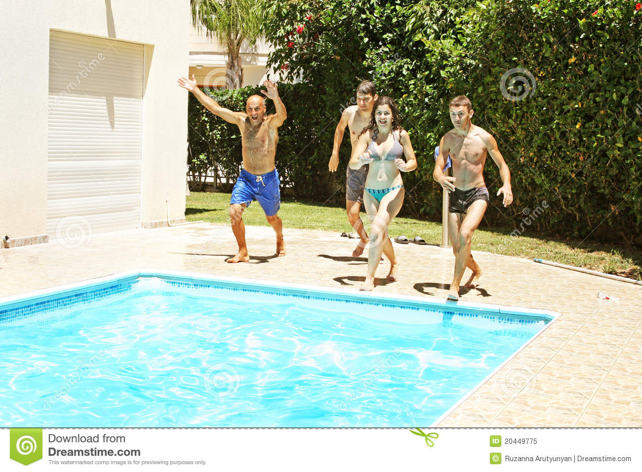 People Jumping To Swimming Pool Stock Image Image Of Slippers People 20449775