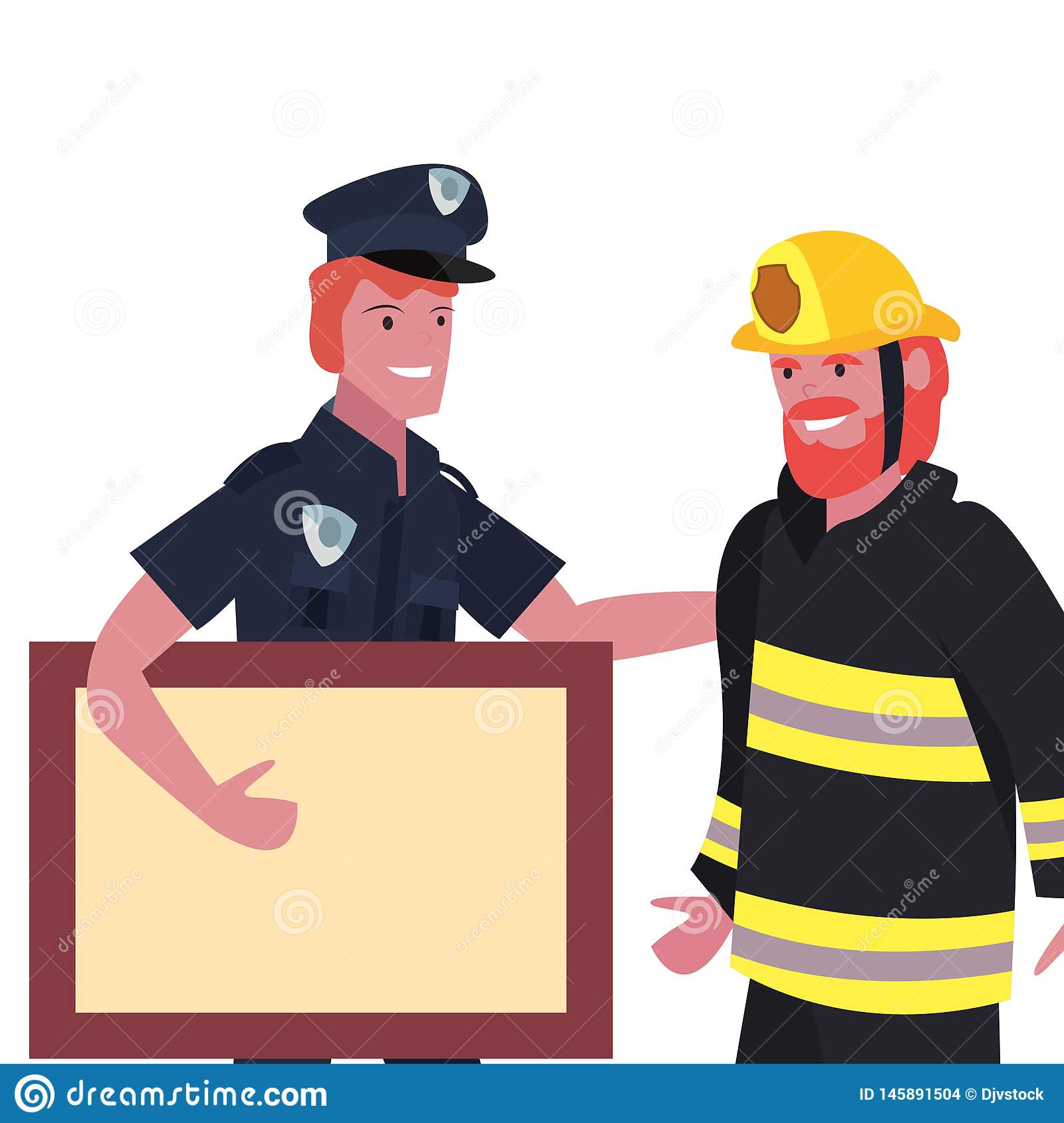 People labour day. Fireman and policeman empty board labour day vector illustration stock images