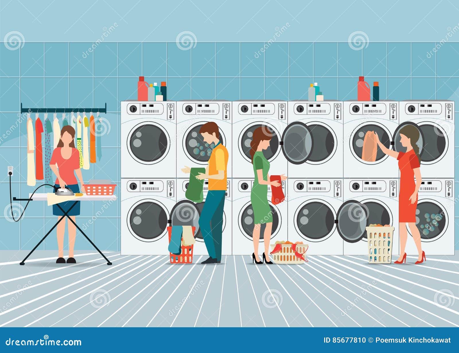 Man Doing Laundry Laundromat Shop Stock Illustrations – 7 Man ...