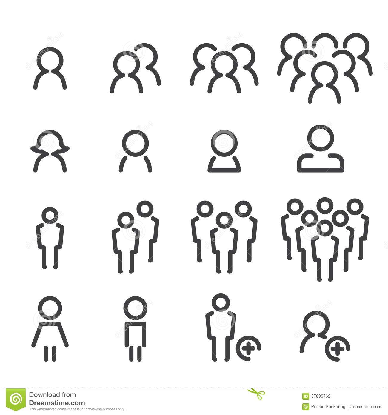 Line Drawing Icons : People line icon set stock vector illustration of choice