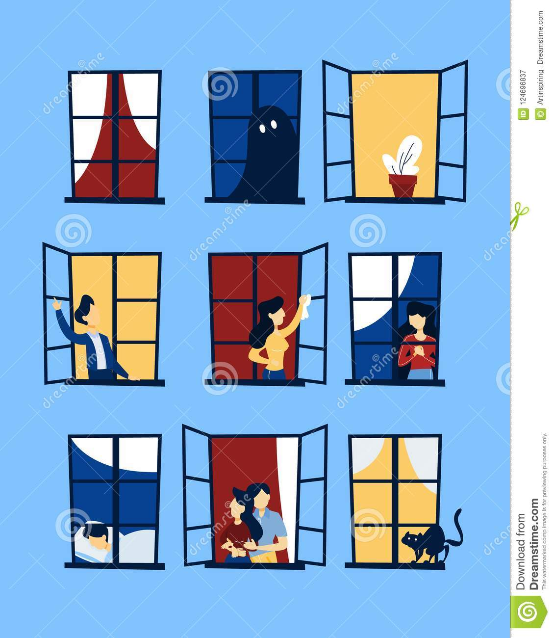 The Apartment People: People Looking Out Of The Window Set. Stock Vector