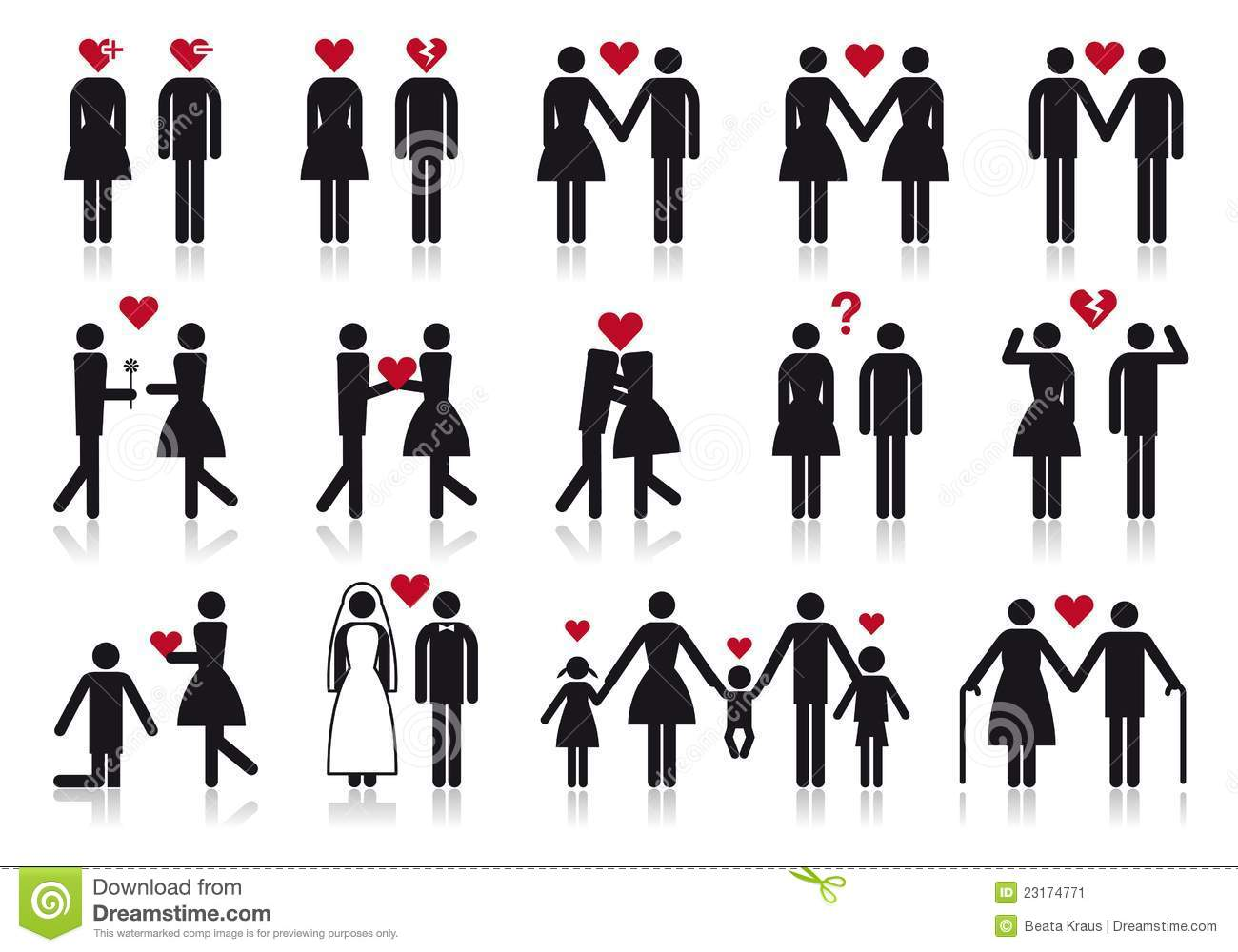 people in love  vector icon set stock vector