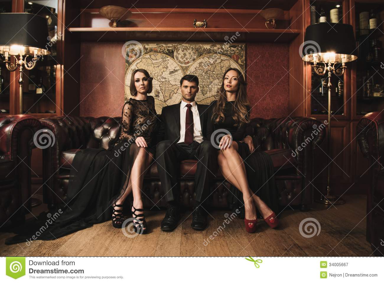 People In Luxury Interior Royalty Free Stock Photography