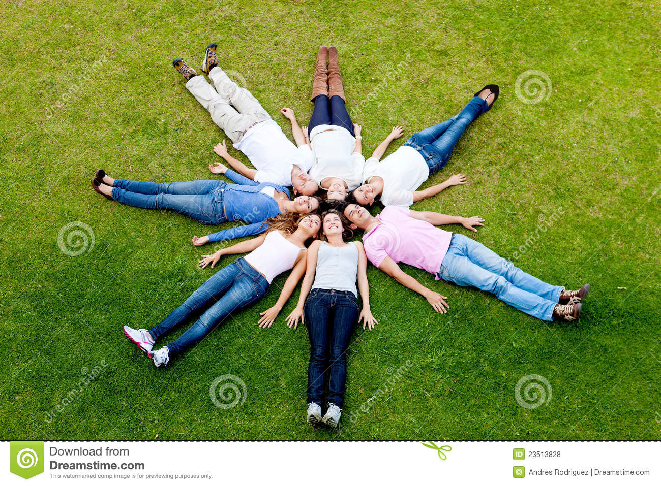 People Lying Down Outdoors Stock Photo Image Of Cheerful